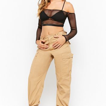 Off-the-Shoulder Sheer Mesh Crop Top