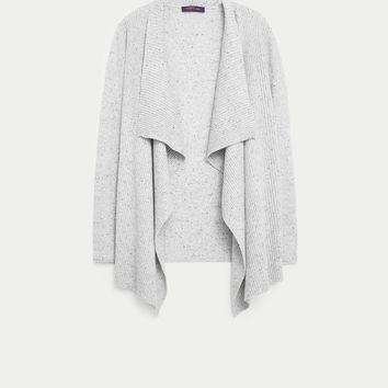Textured wool-blend cardigan