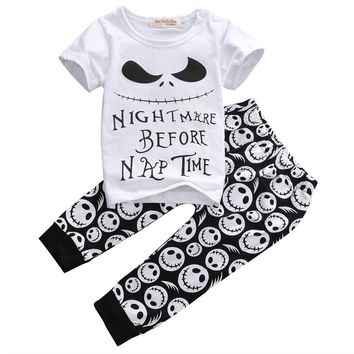 2PCS Nightmare Shirt and Skull Pants Set Outfit for Newborn Babies Clothes