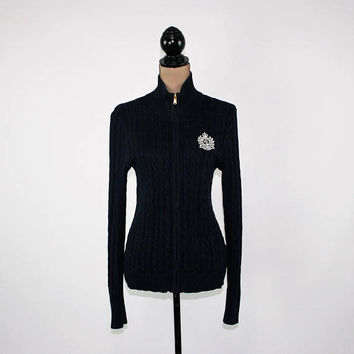 Navy Blue Cardigan Sweater Women Medium Zip Up Ribbed Knit Cotton Fitted Cardigan Embroidered Logo Ralph Lauren Womens Clothing