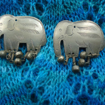 Vintage Handcrafted Elephant  Buttons  Silver Color  Metal Buttons Sewing Knitting Supplies