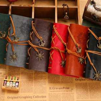 Special editon for festival Free shipping vintage leaf faux Leather pirate cover travel journal 12 colors notebook(1piece)