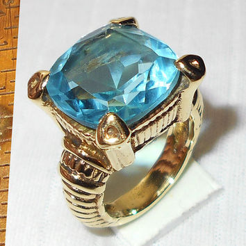 Blue Hydro Glass Ring - Square Stone Ring - Party Wear Ring - Top Selling Ring - Mineral Ring - Statement Ring - Womens Rings -18K Gold Ring