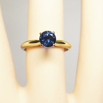 Vintage 14K Sapphire Engagement Solitaire Wedding Ring 3/4 Carat Size 6