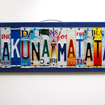 HAKUNA MATATA, OOAK license plate art, nursery decor, playroom art, kids bedroom decoration, valentines day gift, birthday gift
