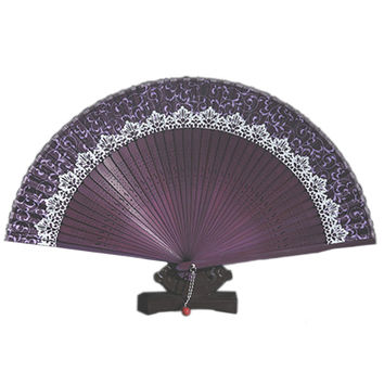 Folding Fan Pure Manual Silk with Box    purple