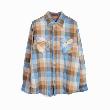 Vintage 70s Baby Blue & Brown Plaid Wool Shirt - 1970s Sears Shirt