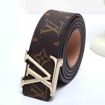 LV Louis Vuitton 2018 latest men and women fashion trendy smooth buckle belt F