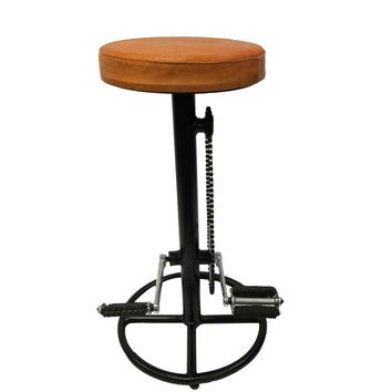 Industrial Style Bicycle Wheel Design Pedal Barstool With Tan Leather Seat By The Urban Port