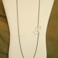 28 inch long Black Chain Asymmetrical Necklace with Double Hearts