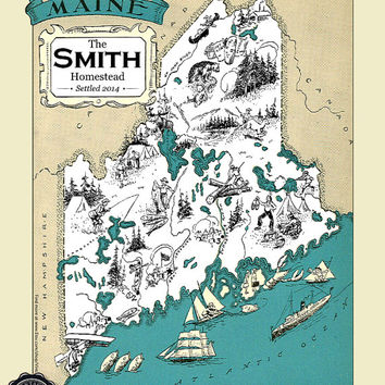 CUSTOM MAINE MAP Vintage Map of Maine Personalized Wedding Gift Housewarming Gift Maine Home Decor Maine Wall Decor Wall Art Beach House Art