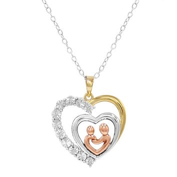 Mother and Child Diamond Heart Pendant - Necklace in Tri Colored Sterling Silver