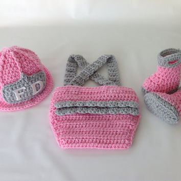 Baby Girl Firefighter Fireman Diaper Cover Set - Crochet Diaper Cover Set w/Suspenders & Boots - Newborn - 0-3 - Photography Prop
