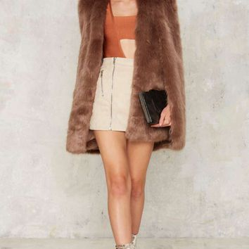 Lavish Alice Dead Disco Faux Fur Cape Jacket