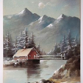 Antique Watercolor Landscape Painting Winter Signed Edna Martin 1913