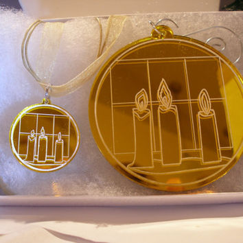 Christmas necklace with matching ornament boxed set yellow mirrored acrylic with candles in the window