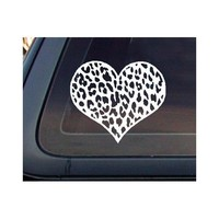 Leopard Print Heart Car Decal / Sticker - White
