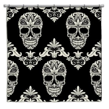 Decorative Sugar Skull Shower Curtain from Extremely Stoked