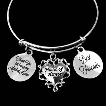 Maid of Honor Best Friends Adjustable Bracelet Expandable Silver Wire Bangle Wedding Shower Bridal Trendy Proposal One Size Fits All Gift