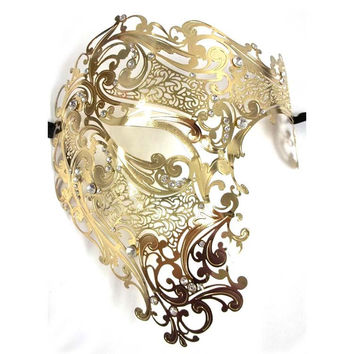 Black Silver Half Face Skull Men Women Phantom Evil Venetian Metal Laser Cut Party Masks Gold Red Prom Halloween Masquerade Mask