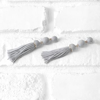 Gray Ball Drop Tassel Earrings