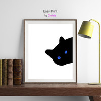 Cat with blue eyes print, Illustration art, Curious cat, Cat silhouette, Black print,  Peeking sneaky, Cat digital, Kids room, Download