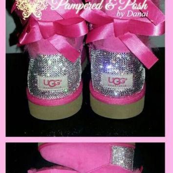 CUPUPS BABY Swarovski Crystal Embellished Bailey Bow Uggs