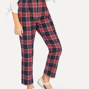Girls Plaid Print Pants