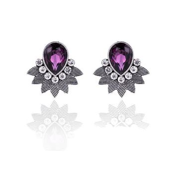 STYLEDOME Acrylic Stone Water Drop Piercing Earrings Metal Bib Design Women Stud Earring