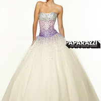 Strapless Beaded Tulle Ball Gown Paparazzi Prom Dress By Mori Lee 97044