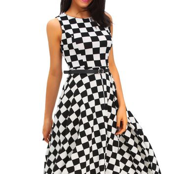 Stylish 50's Retro Black White Plain Swing Dresses 3 Styles