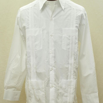 D'Accord Men's Long Sleeve White Guayabera Shirt