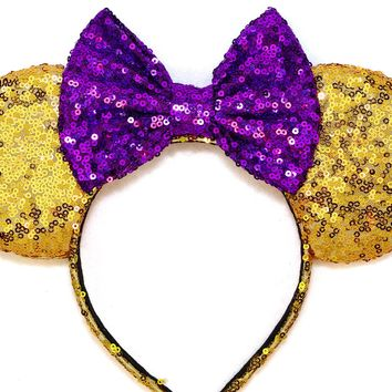 Gold Sequin Ears and Purple Bow