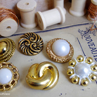 Large buttons antic vintage golden x6