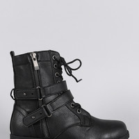 Distressed Zipper Combat Lace Up Ankle Boots