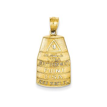 14k Yellow Gold Southern Most Point USA Key West Buoy Pendant
