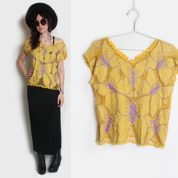 Bali Cut Out Shirt // Bali Cutwork Blouse // Bali Blouse // Size Small Medium // Embroidered Top // Mesh Top // Butterfly Shirt