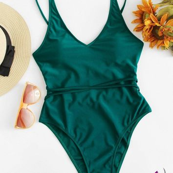Lace Up High Leg One Piece Swimsuit