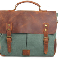 Green Unisex Messenger Bag/Vintage Bag /Retro Bags /Tote Bag/ Handbags /Genuine Leather Bag/Canvas Bag /Briefcase -vb114