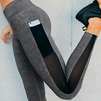 Grey Patchwork Grenadine Pockets High Waisted Sports Yoga Workout Long Legging