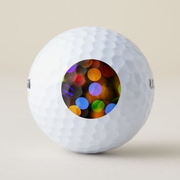 Multicolored Christmas lights. Golf Balls