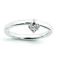 Sterling Silver Stackable Expressions Dangle Heart Diamond Ring