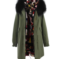 Long Green Mink Fur Parka