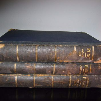 Punch Illustrated Leather Bound Three Volumes English Humorist Satire Political Magazines
