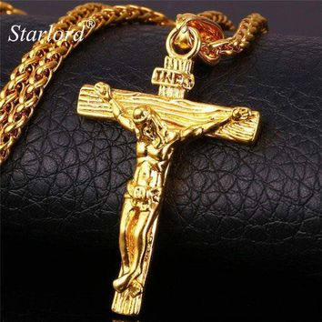 Jesus Piece Crucifix Pendant & Necklace Stainless Steel Yellow Gold Color Chain