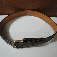 Womens Vintage Don Hume Leather Belt 26 Dark Brown Shiny Leather Pine Cones Solid Brass Buckle