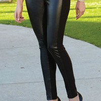 Black Faux Leather Panel Thinny Pant
