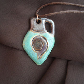 Handmade clay pendant.  Greek oil jar shape. Turquoise and dark brown. FREE SHIPPING!