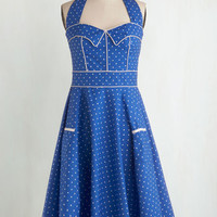 Rockabilly Long Sleeveless Fit & Flare Blueberry Buckle Dress