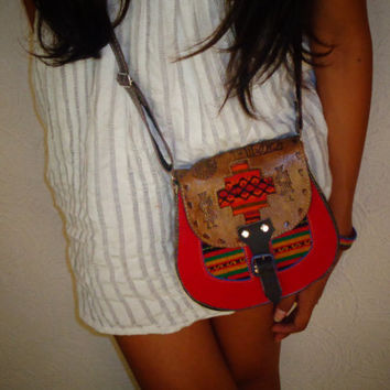 Handcrafted Leather Crossbody Purse Engraved Leather Embroidered Cotton Felt Bag Red Brown Multi Color Hippie Boho Purse Hand Tooled Ecuador